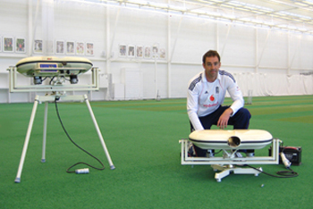 ECB Coach Richard Halsall with BOLAs